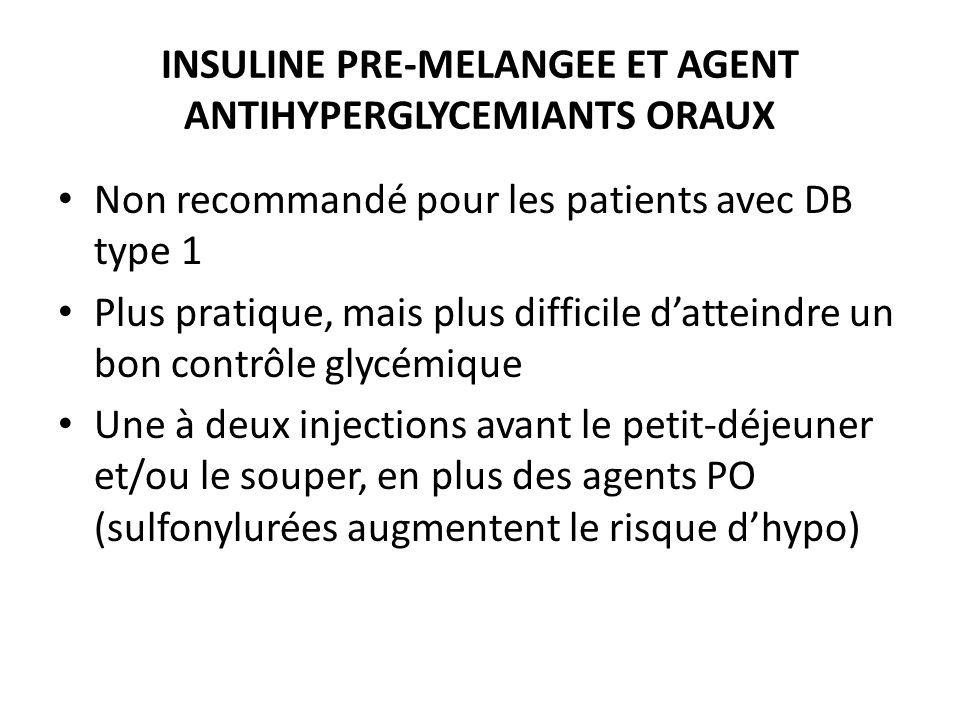 INSULINE PRE-MELANGEE ET AGENT ANTIHYPERGLYCEMIANTS ORAUX Non recommandé pour les patients avec DB type 1 Plus pratique, mais plus difficile datteindr