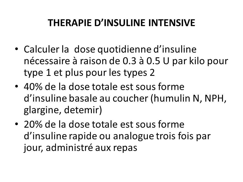 THERAPIE DINSULINE INTENSIVE Calculer la dose quotidienne dinsuline nécessaire à raison de 0.3 à 0.5 U par kilo pour type 1 et plus pour les types 2 4