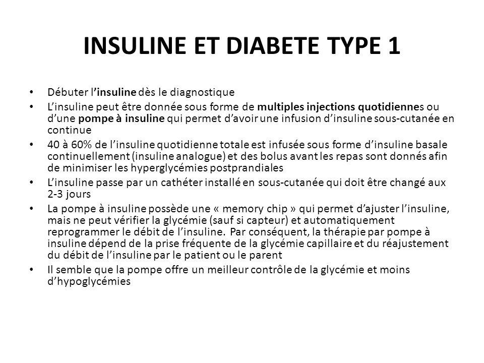 INSULINE ET DIABETE TYPE 1 Débuter linsuline dès le diagnostique Linsuline peut être donnée sous forme de multiples injections quotidiennes ou dune po