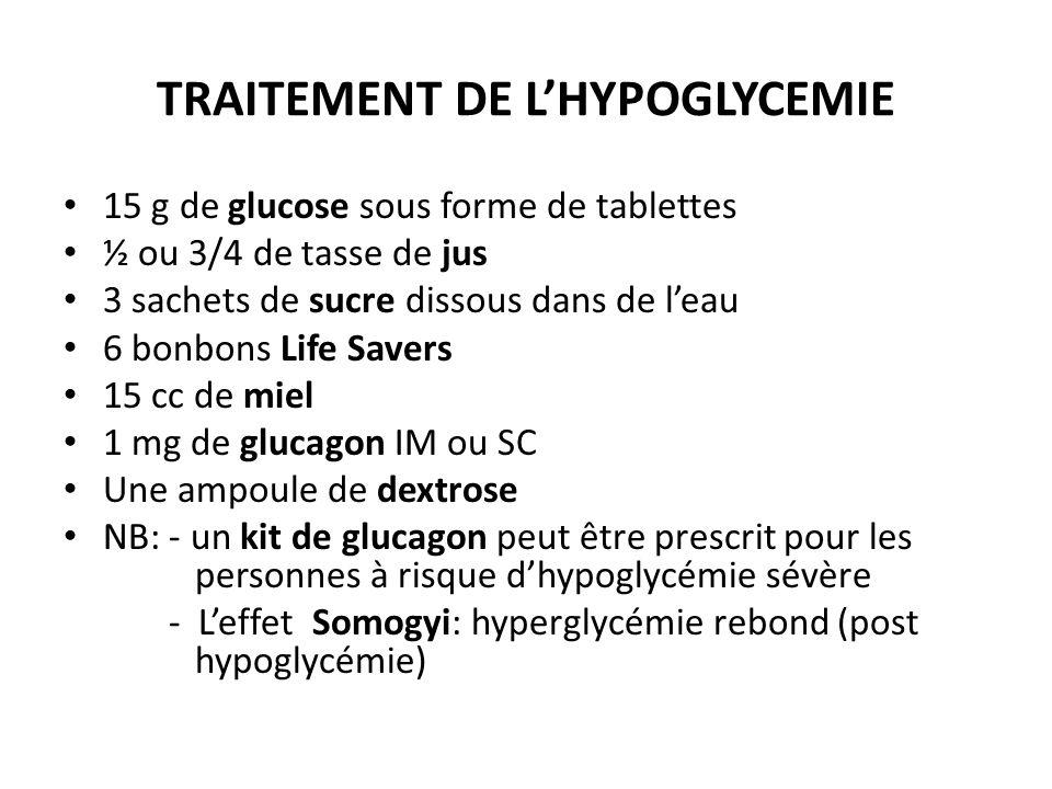 TRAITEMENT DE LHYPOGLYCEMIE 15 g de glucose sous forme de tablettes ½ ou 3/4 de tasse de jus 3 sachets de sucre dissous dans de leau 6 bonbons Life Sa