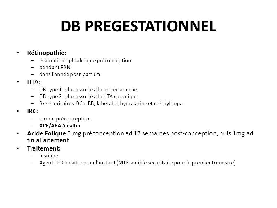 DB PREGESTATIONNEL Rétinopathie: – évaluation ophtalmique préconception – pendant PRN – dans lannée post-partum HTA: – DB type 1: plus associé à la pr