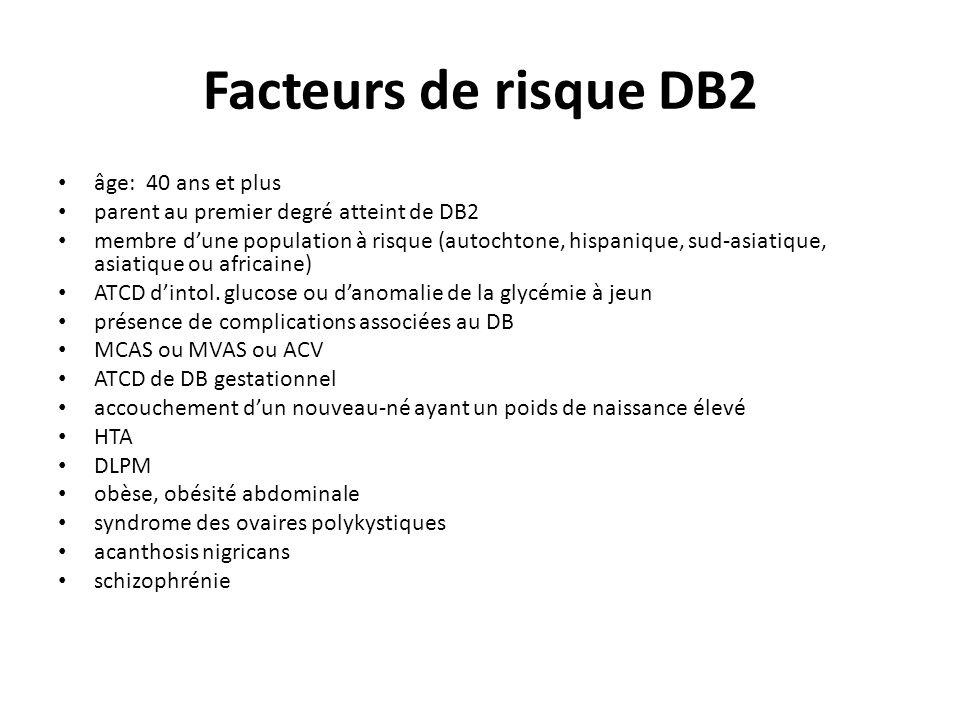 Inhibiteur de la DDP-4 Sitagliptine (Januvia) Saxagliptine (Onglyza) Diminution de l HA1C de 0.6 à 2% Risque négligeable dhypoglycémie en monothérapie Neutre a/n du poids Non-recommandé si clre < 50 ml/min Augmentation du risque dinfections (ORL, pulm., uro.)