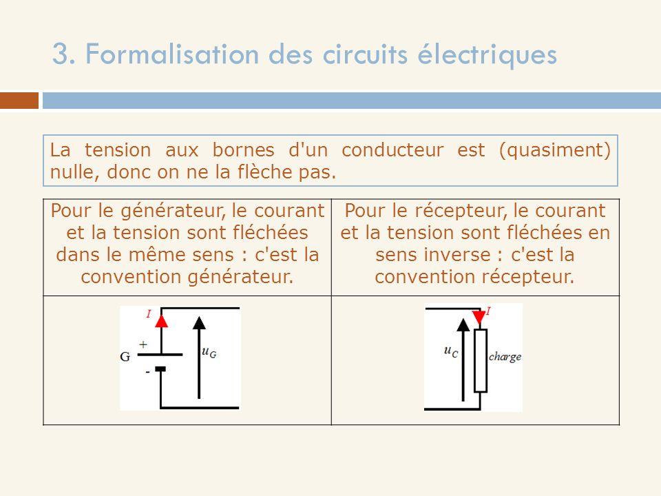 3. Formalisation des circuits électriques La tension aux bornes d'un conducteur est (quasiment) nulle, donc on ne la flèche pas. Pour le générateur, l