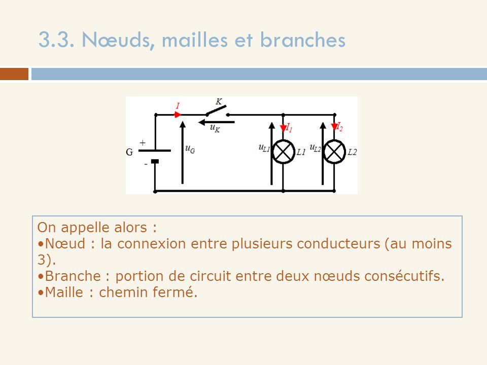 3.3. Nœuds, mailles et branches On appelle alors : Nœud : la connexion entre plusieurs conducteurs (au moins 3). Branche : portion de circuit entre de
