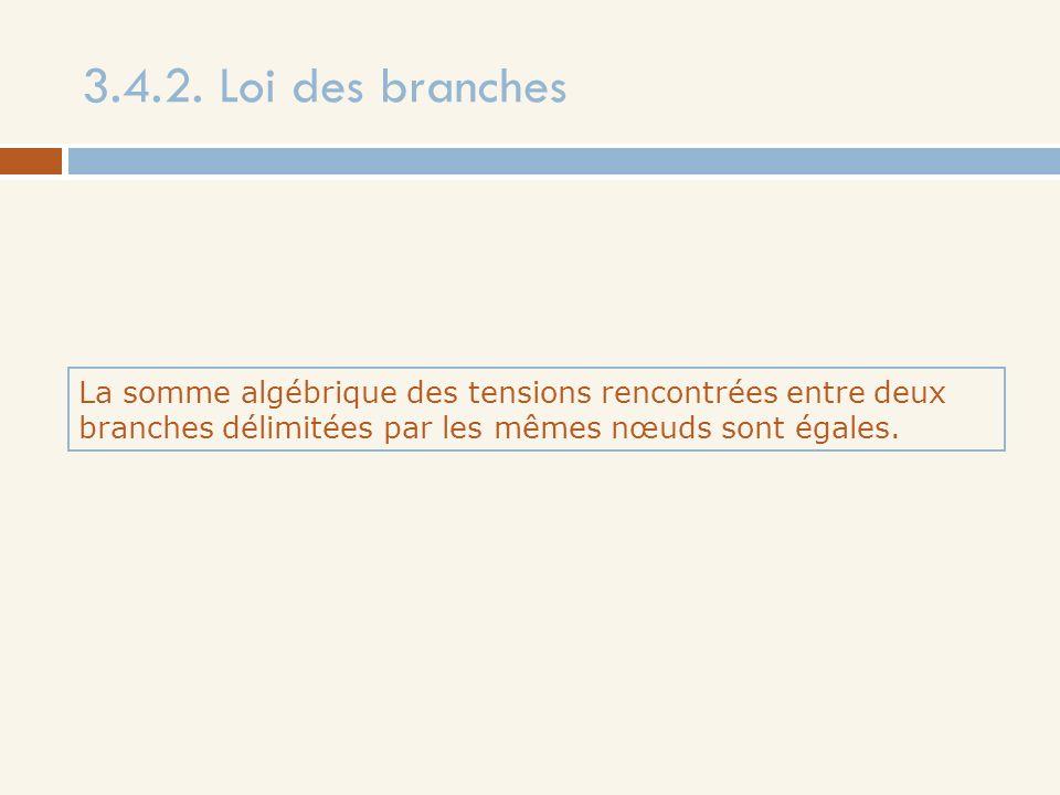 3.4.2. Loi des branches La somme algébrique des tensions rencontrées entre deux branches délimitées par les mêmes nœuds sont égales.