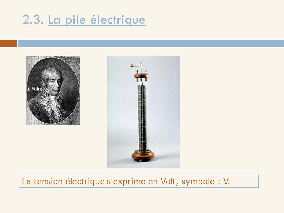 2.3. La pile électrique La tension électrique s'exprime en Volt, symbole : V.