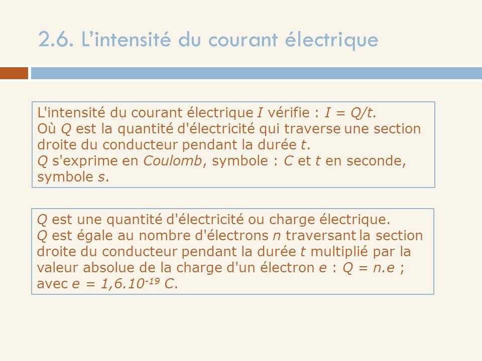2.6. Lintensité du courant électrique L'intensité du courant électrique I vérifie : I = Q/t. Où Q est la quantité d'électricité qui traverse une secti