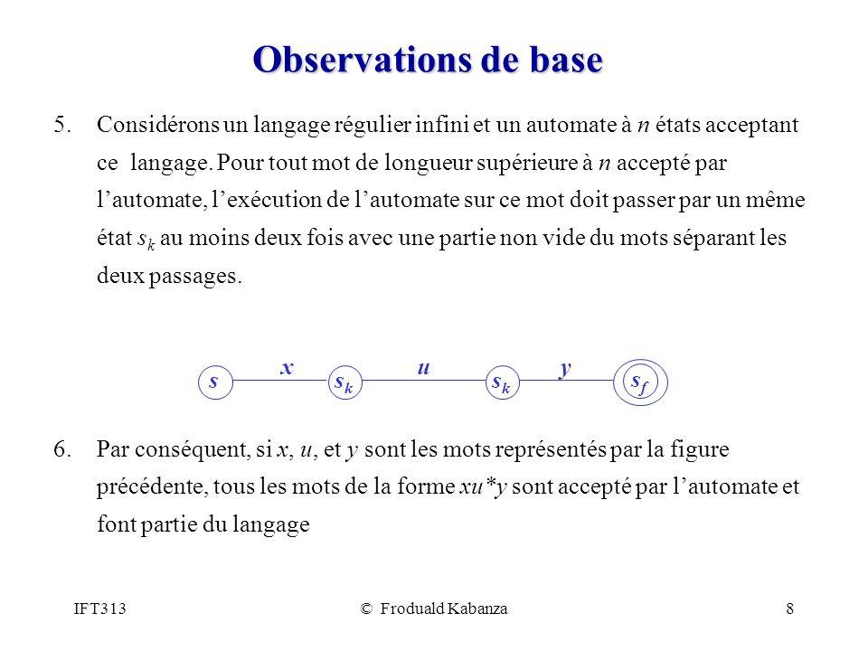 IFT313© Froduald Kabanza8 Observations de base 5.Considérons un langage régulier infini et un automate à n états acceptant ce langage. Pour tout mot d