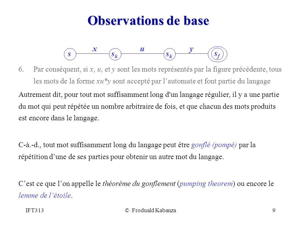 IFT313© Froduald Kabanza9 Observations de base 6.Par conséquent, si x, u, et y sont les mots représentés par la figure précédente, tous les mots de la