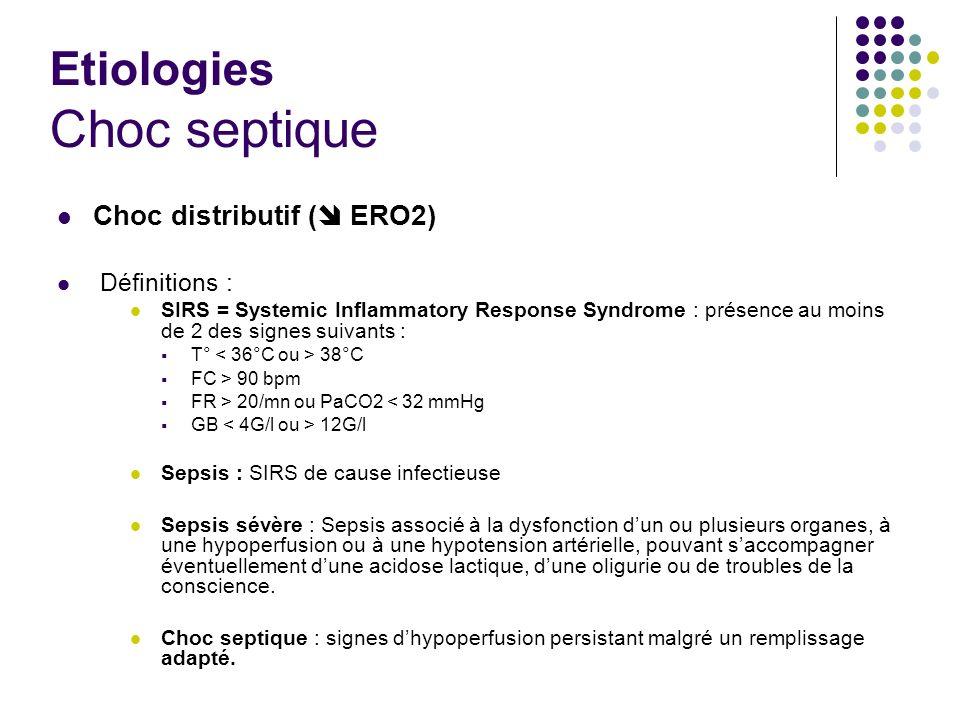 Etiologies Choc septique Choc distributif ( ERO2) Définitions : SIRS = Systemic Inflammatory Response Syndrome : présence au moins de 2 des signes sui