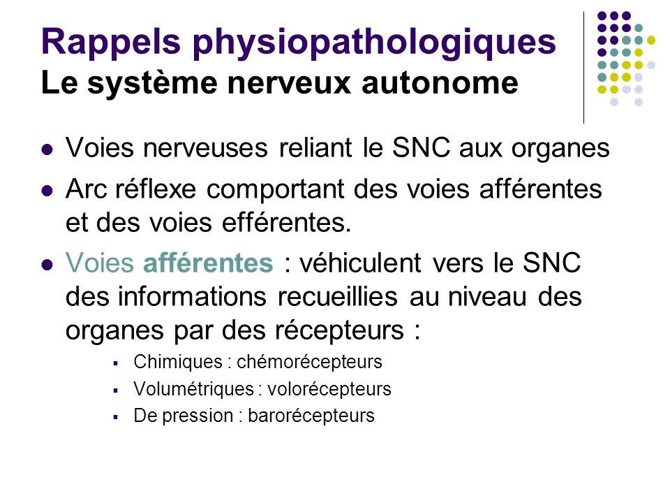 Rappels physiopathologiques Le système nerveux autonome Voies nerveuses reliant le SNC aux organes Arc réflexe comportant des voies afférentes et des