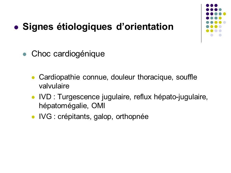 Signes étiologiques dorientation Choc cardiogénique Cardiopathie connue, douleur thoracique, souffle valvulaire IVD : Turgescence jugulaire, reflux hé