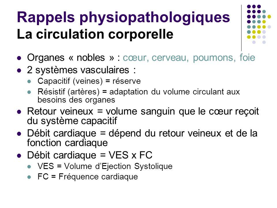 Rappels physiopathologiques La circulation corporelle Organes « nobles » : cœur, cerveau, poumons, foie 2 systèmes vasculaires : Capacitif (veines) =