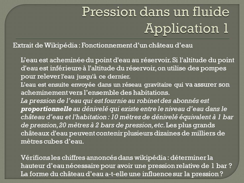 Extrait de Wikipédia : Fonctionnement dun château deau Leau est acheminée du point d'eau au réservoir. Si l'altitude du point d'eau est inférieure à l