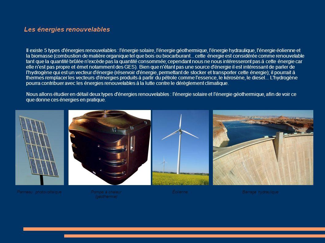 Les énergies renouvelables Il existe 5 types d'énergies renouvelables : l'énergie solaire, l'énergie géothermique, l'énergie hydraulique, l'énergie éo