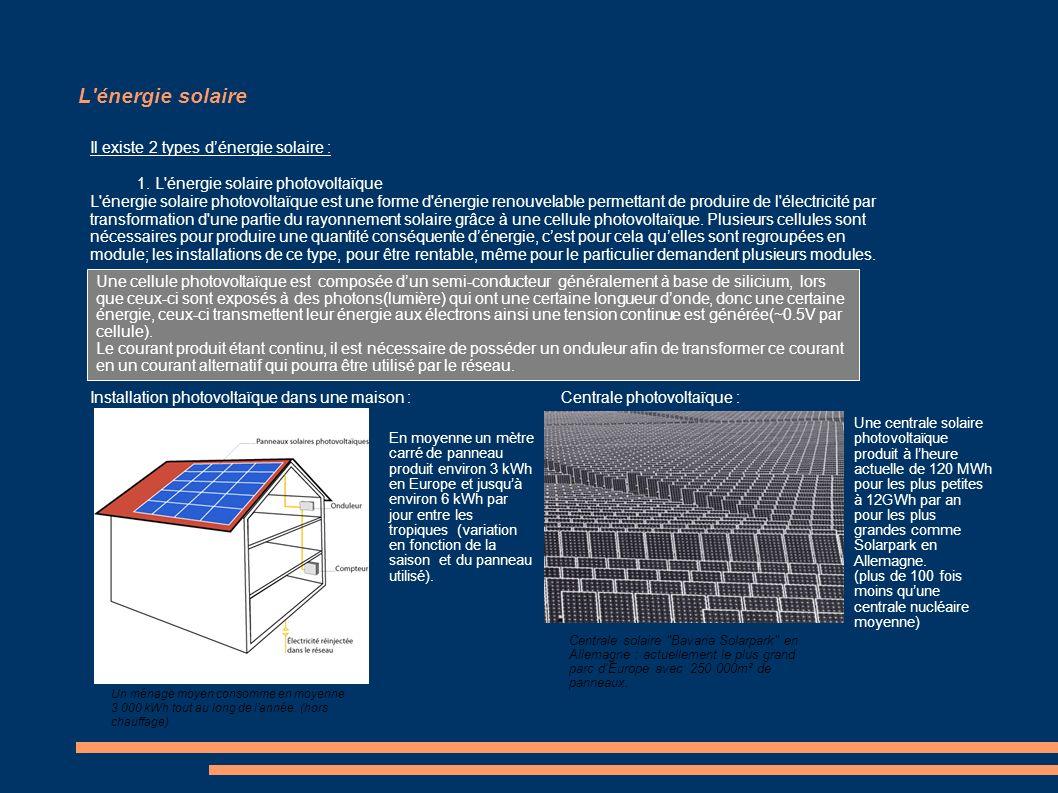 L'énergie solaire Il existe 2 types dénergie solaire : 1. L'énergie solaire photovoltaïque L'énergie solaire photovoltaïque est une forme d'énergie re