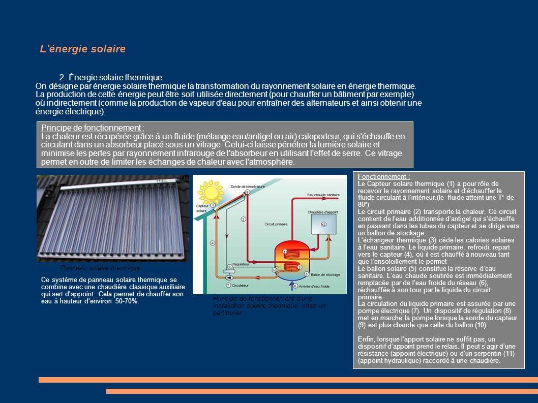 L'énergie solaire 2. Énergie solaire thermique On désigne par énergie solaire thermique la transformation du rayonnement solaire en énergie thermique.