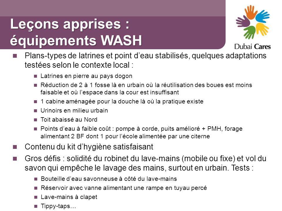 Leçons apprises : équipements WASH Plans-types de latrines et point deau stabilisés, quelques adaptations testées selon le contexte local : Latrines e