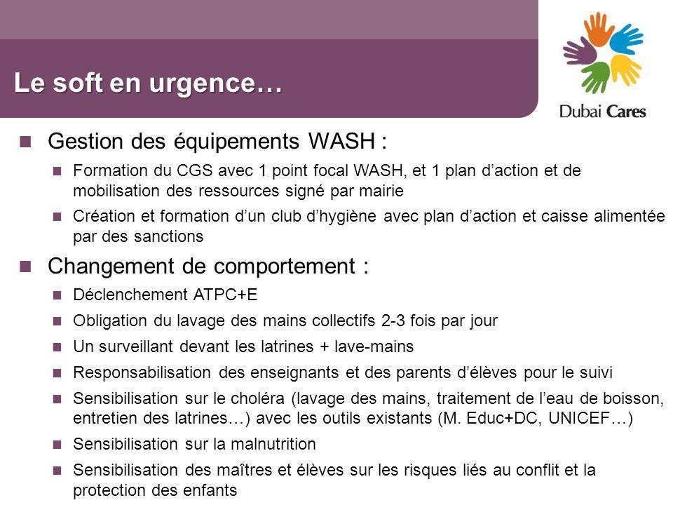 Le soft en urgence… Gestion des équipements WASH : Formation du CGS avec 1 point focal WASH, et 1 plan daction et de mobilisation des ressources signé