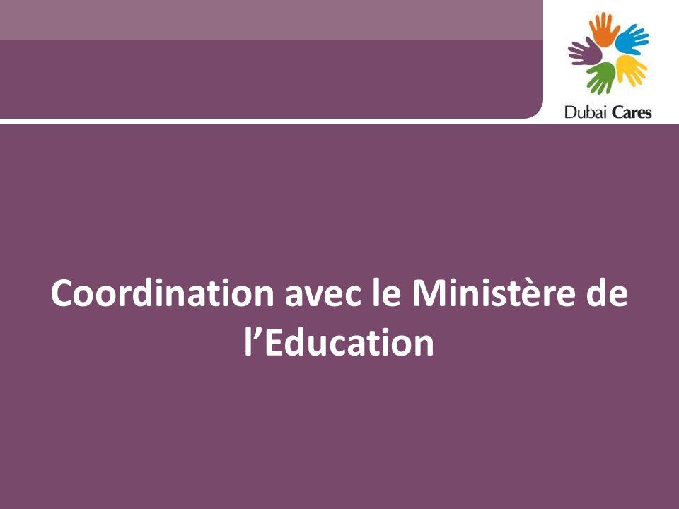 Coordination avec le Ministère de lEducation