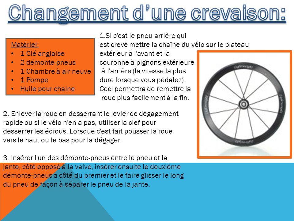 2. Enlever la roue en desserrant le levier de dégagement rapide ou si le vélo n'en a pas, utiliser la clef pour desserrer les écrous. Lorsque c'est fa