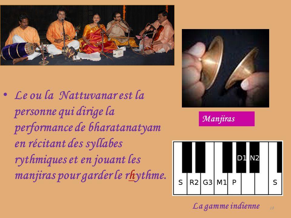 Le ou la Nattuvanar est la personne qui dirige la performance de bharatanatyam en récitant des syllabes rythmiques et en jouant les manjiras pour gard