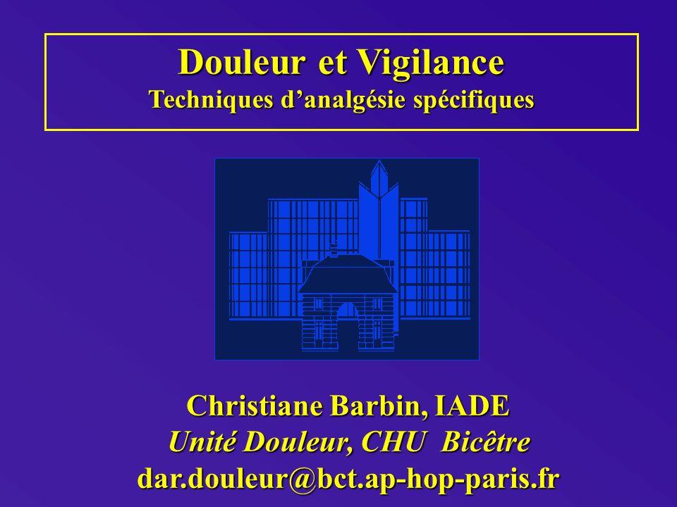 Douleur et Vigilance Techniques danalgésie spécifiques Christiane Barbin, IADE Unité Douleur, CHU Bicêtre dar.douleur@bct.ap-hop-paris.fr
