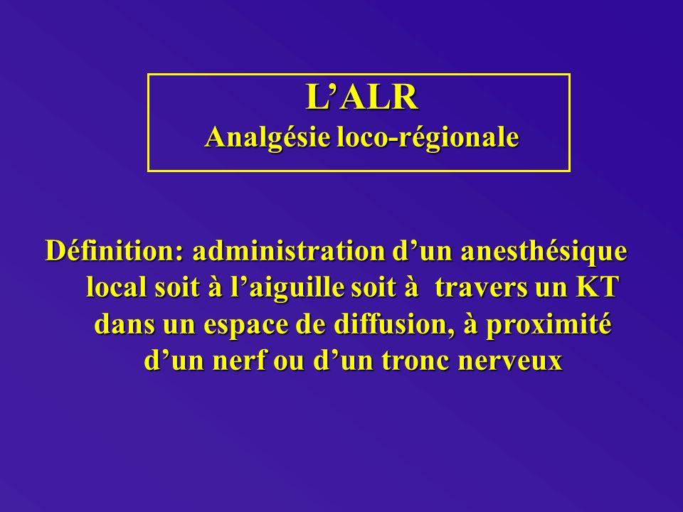 LALR Analgésie loco-régionale Définition: administration dun anesthésique local soit à laiguille soit à travers un KT dans un espace de diffusion, à proximité dun nerf ou dun tronc nerveux