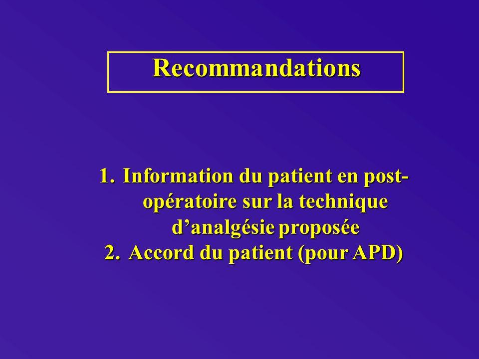Recommandations Recommandations 1.Information du patient en post- opératoire sur la technique danalgésie proposée 2.Accord du patient (pour APD)