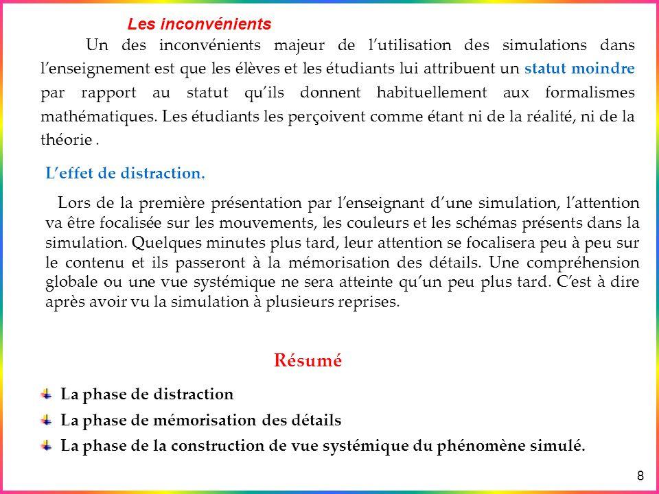 Exemples Avantages & Inconvénients des simulations Différence entre Simulation & Animation Les Simulations en physique & en Didactique Lanalogie 9 La première phase qui est considérée par certains comme un inconvénient sopposant à une construction active des connaissances, nest que passagère.