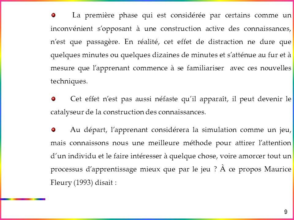 Exemples Avantages & Inconvénients des simulations Différence entre Simulation & Animation Les Simulations en physique & en Didactique Lanalogie 9 La