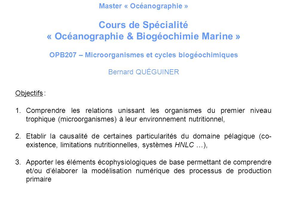 Master « Océanographie » Cours de Spécialité « Océanographie & Biogéochimie Marine » OPB207 – Microorganismes et cycles biogéochimiques Bernard QUÉGUI