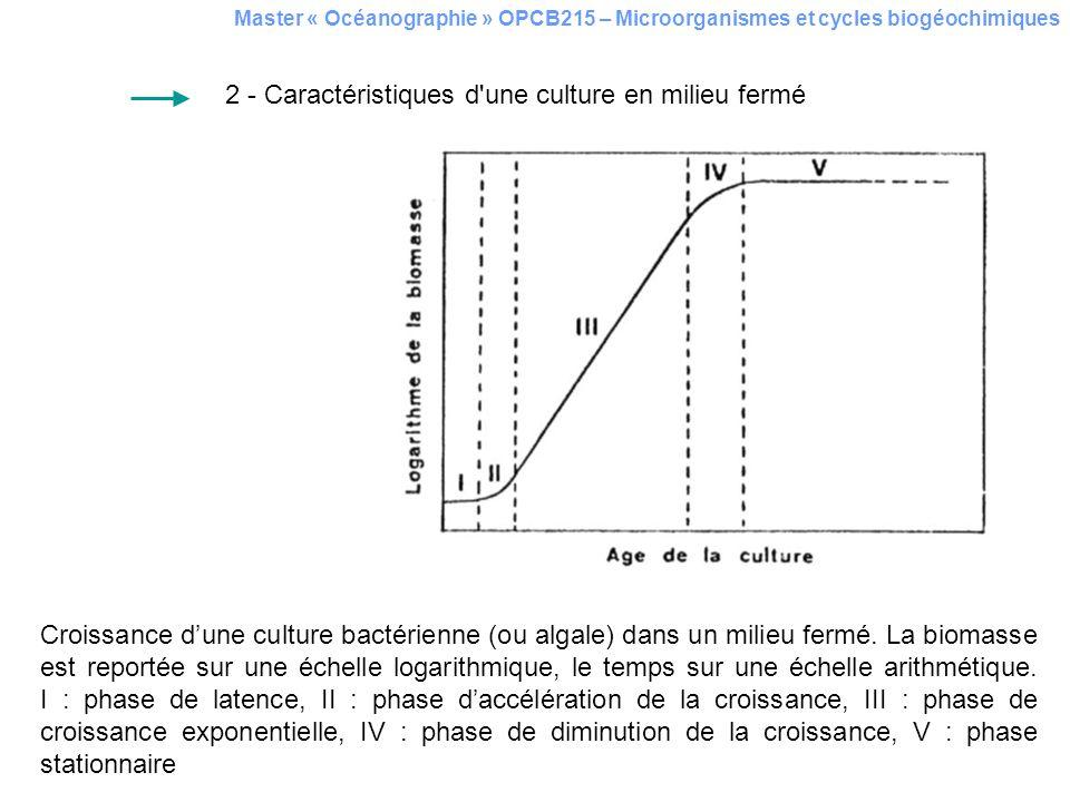 Croissance dune culture bactérienne (ou algale) dans un milieu fermé. La biomasse est reportée sur une échelle logarithmique, le temps sur une échelle