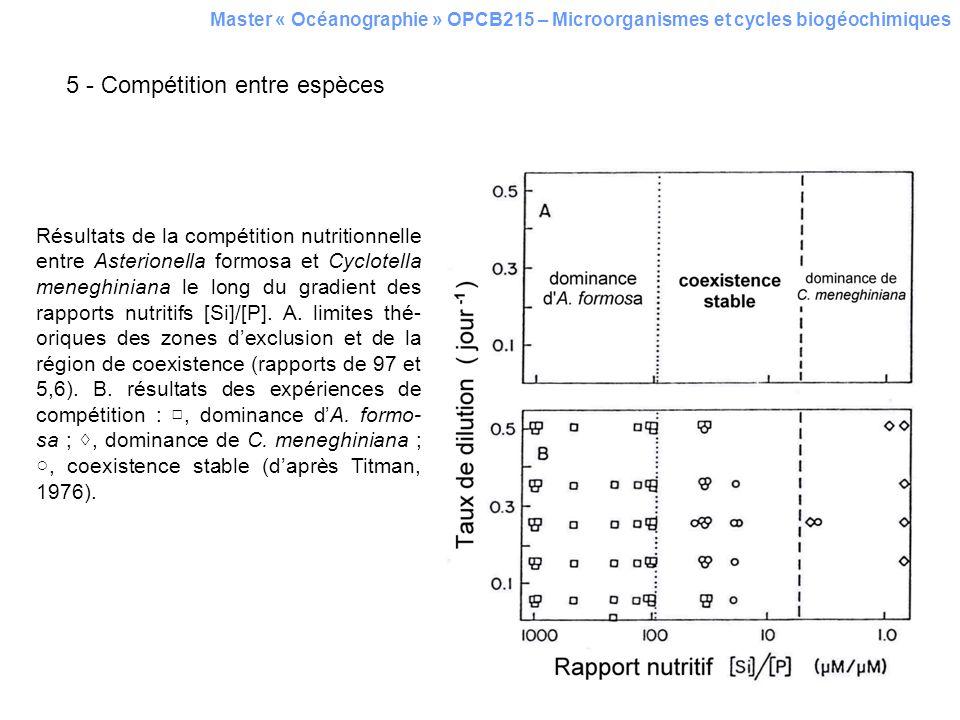 5 - Compétition entre espèces Résultats de la compétition nutritionnelle entre Asterionella formosa et Cyclotella meneghiniana le long du gradient des