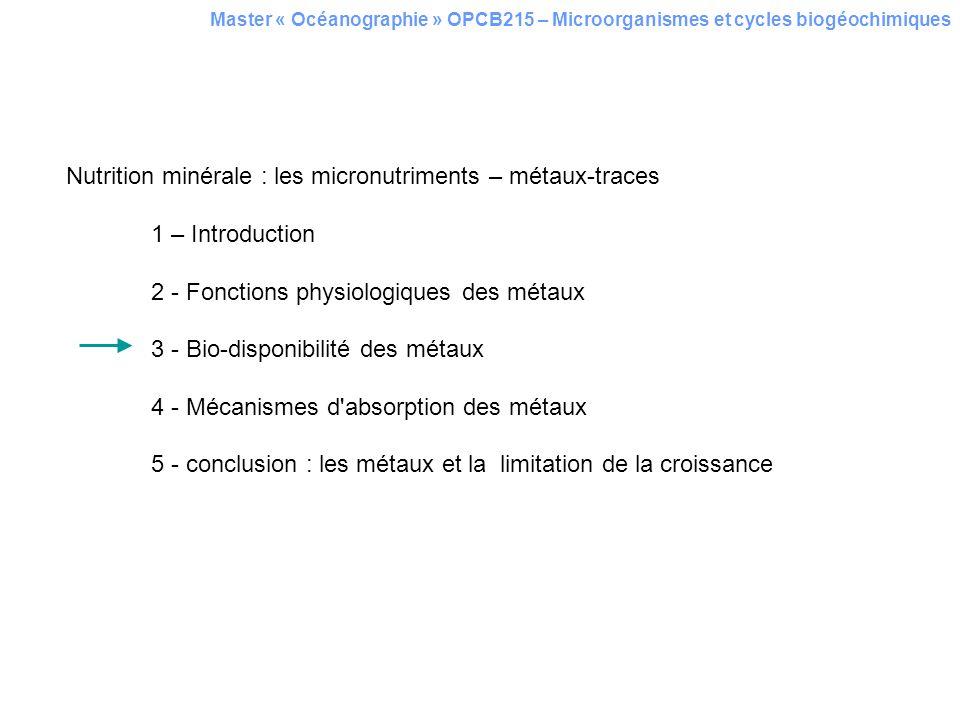 Nutrition minérale : les micronutriments – métaux-traces 1 – Introduction 2 - Fonctions physiologiques des métaux 3 - Bio-disponibilité des métaux 4 -