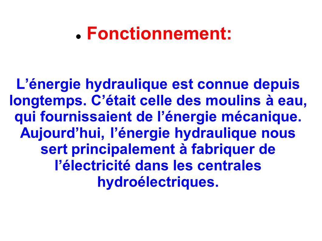 Fonctionnement: Lénergie hydraulique est connue depuis longtemps. Cétait celle des moulins à eau, qui fournissaient de lénergie mécanique. Aujourdhui,