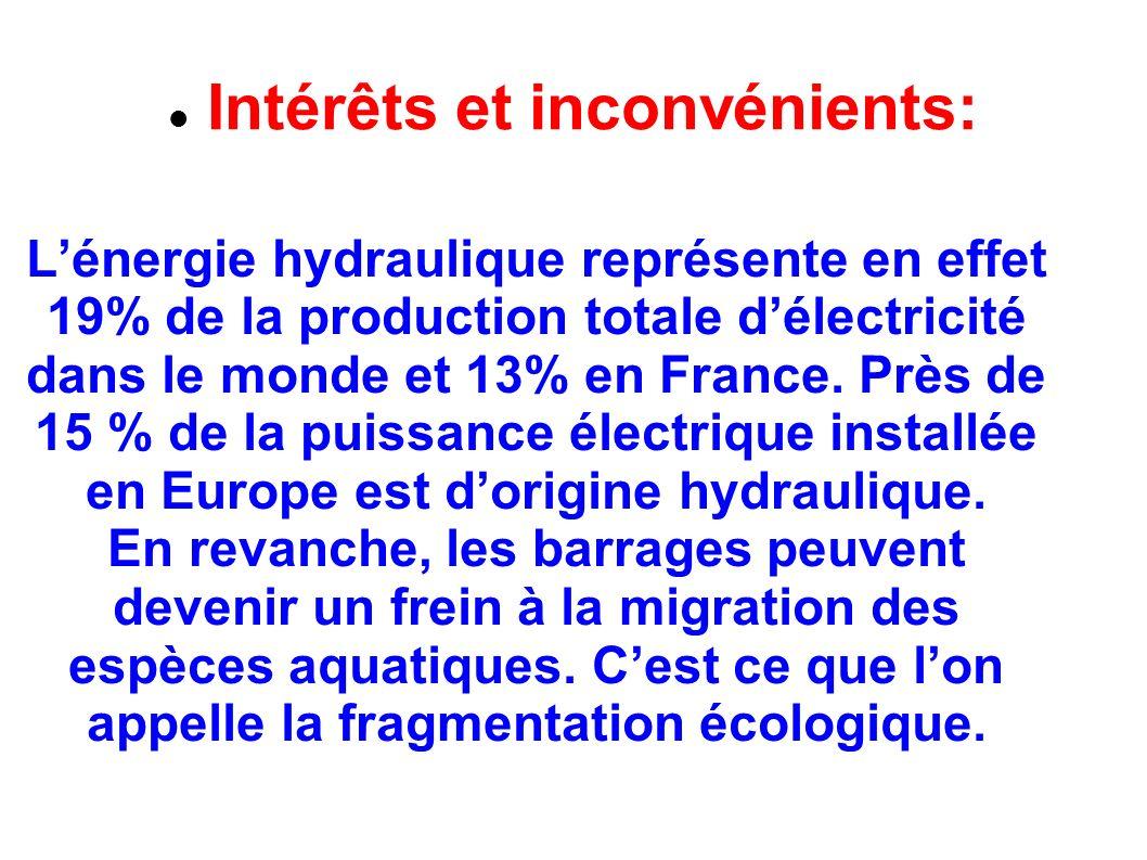 Intérêts et inconvénients: Lénergie hydraulique représente en effet 19% de la production totale délectricité dans le monde et 13% en France.
