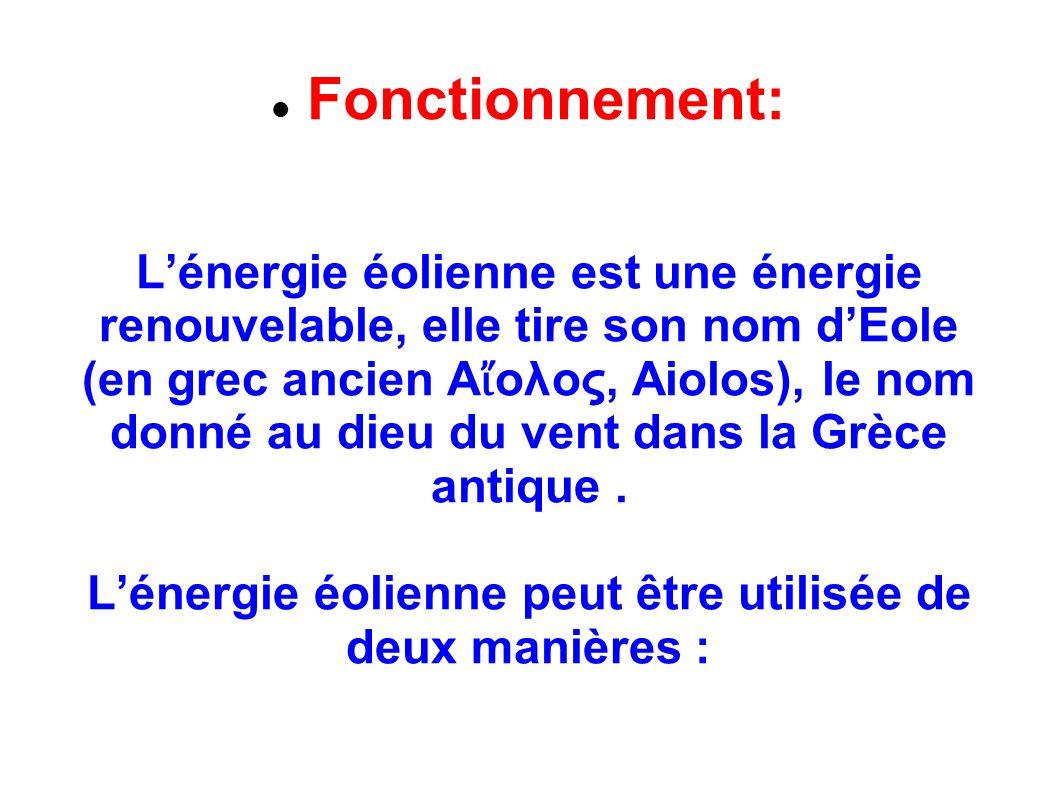 Fonctionnement: Lénergie éolienne est une énergie renouvelable, elle tire son nom dEole (en grec ancien Α ολος, Aiolos), le nom donné au dieu du vent dans la Grèce antique.