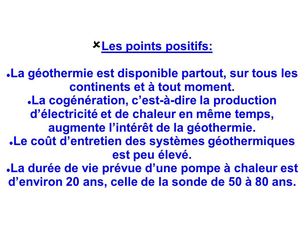 Les points positifs: La géothermie est disponible partout, sur tous les continents et à tout moment. La cogénération, cest-à-dire la production délect