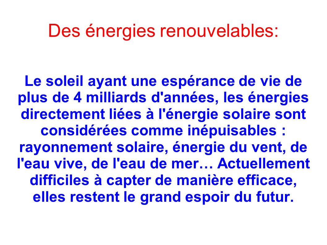 Des énergies renouvelables: Le soleil ayant une espérance de vie de plus de 4 milliards d'années, les énergies directement liées à l'énergie solaire s