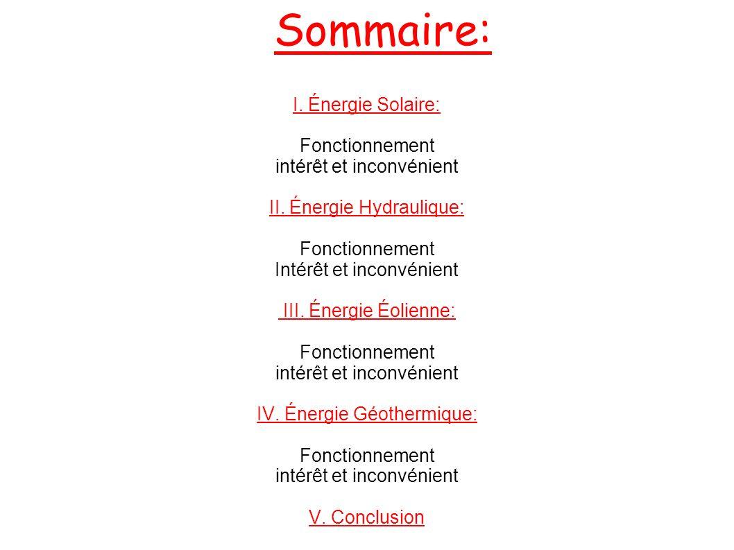 Sommaire: I.Énergie Solaire: Fonctionnement intérêt et inconvénient II.