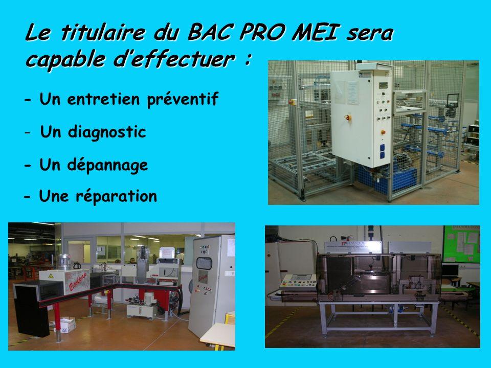 - Un entretien préventif Le titulaire du BAC PRO MEI sera capable deffectuer : - Un dépannage - Une réparation - Un diagnostic