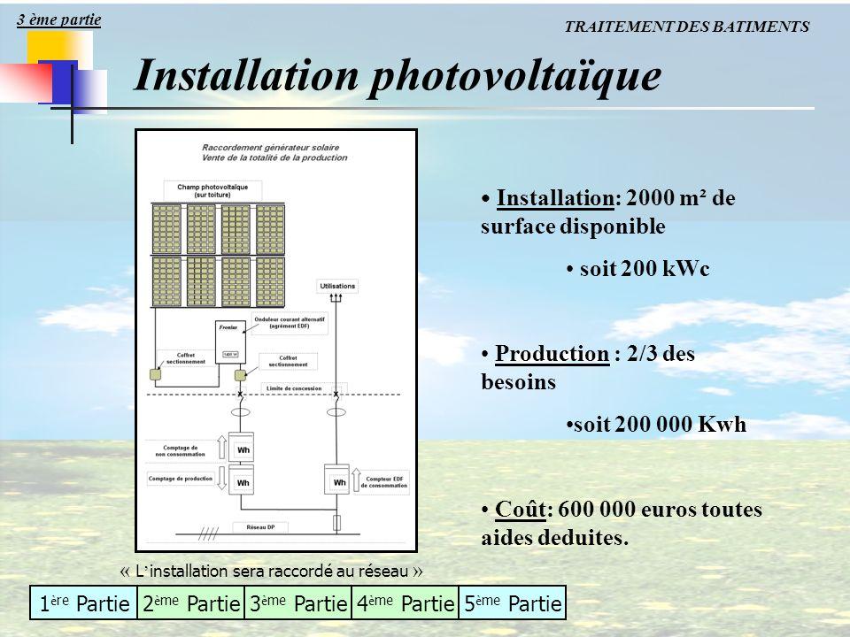 1 è re Partie2 è me Partie3 è me Partie4 è me Partie5 è me Partie Installation photovoltaïque Installation: 2000 m² de surface disponible soit 200 kWc