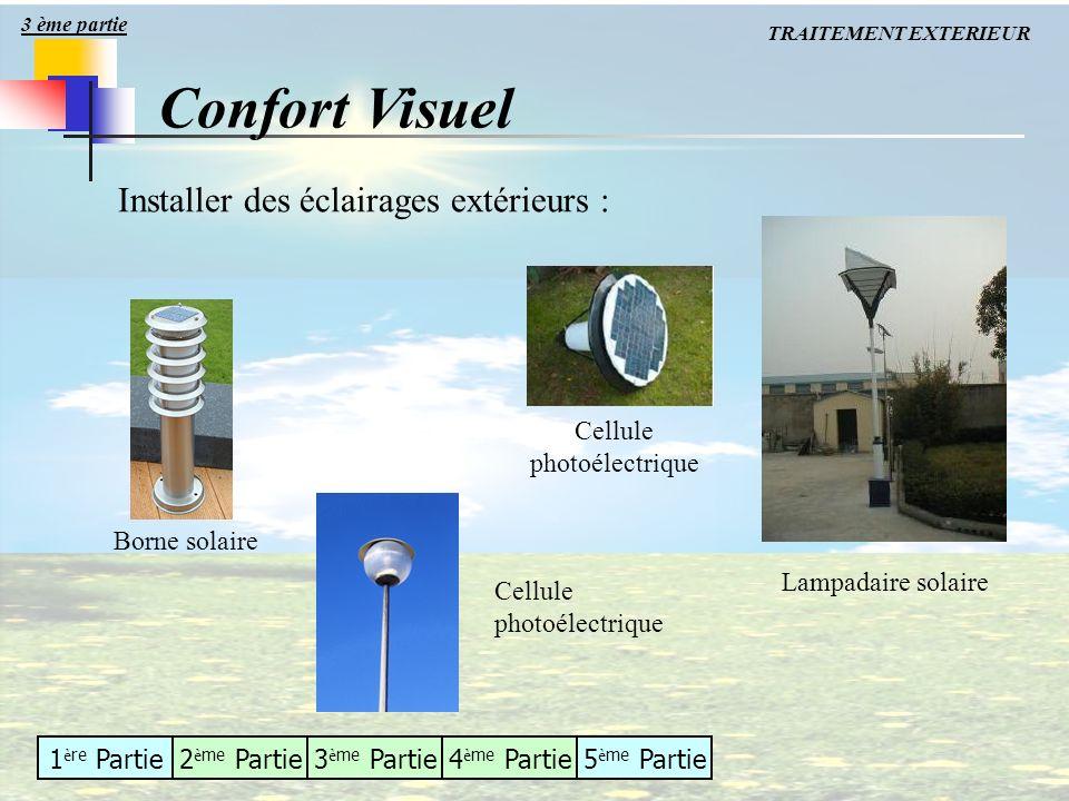 1 è re Partie2 è me Partie3 è me Partie4 è me Partie5 è me Partie Installer des éclairages extérieurs : Borne solaire Cellule photoélectrique Lampadai