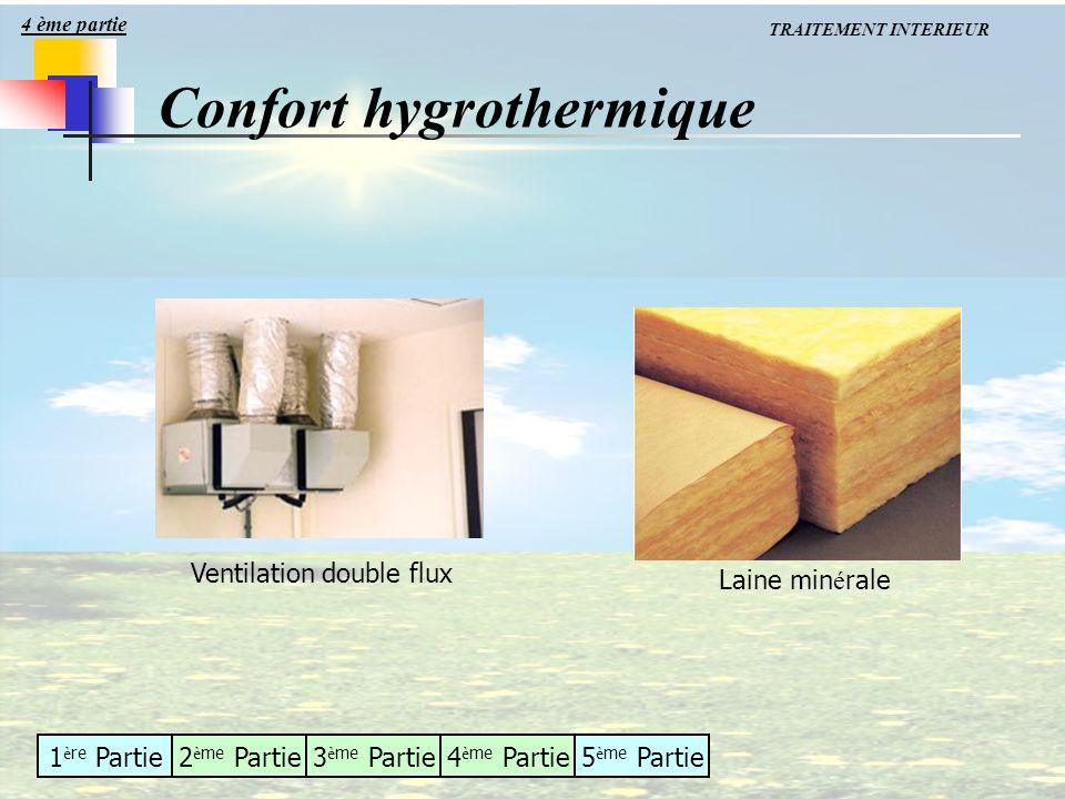 1 è re Partie2 è me Partie3 è me Partie4 è me Partie5 è me Partie TRAITEMENT INTERIEUR Confort hygrothermique 4 ème partie Ventilation double flux Lai