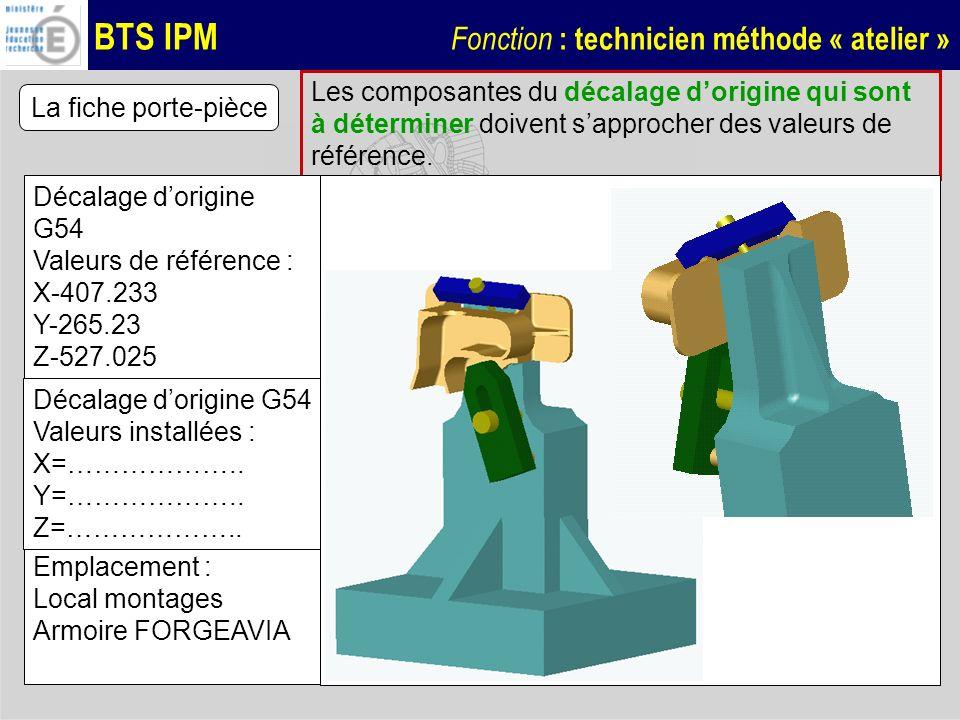 BTS IPM Fonction : technicien méthode « atelier » La fiche porte-pièce Les composantes du décalage dorigine qui sont à déterminer doivent sapprocher d
