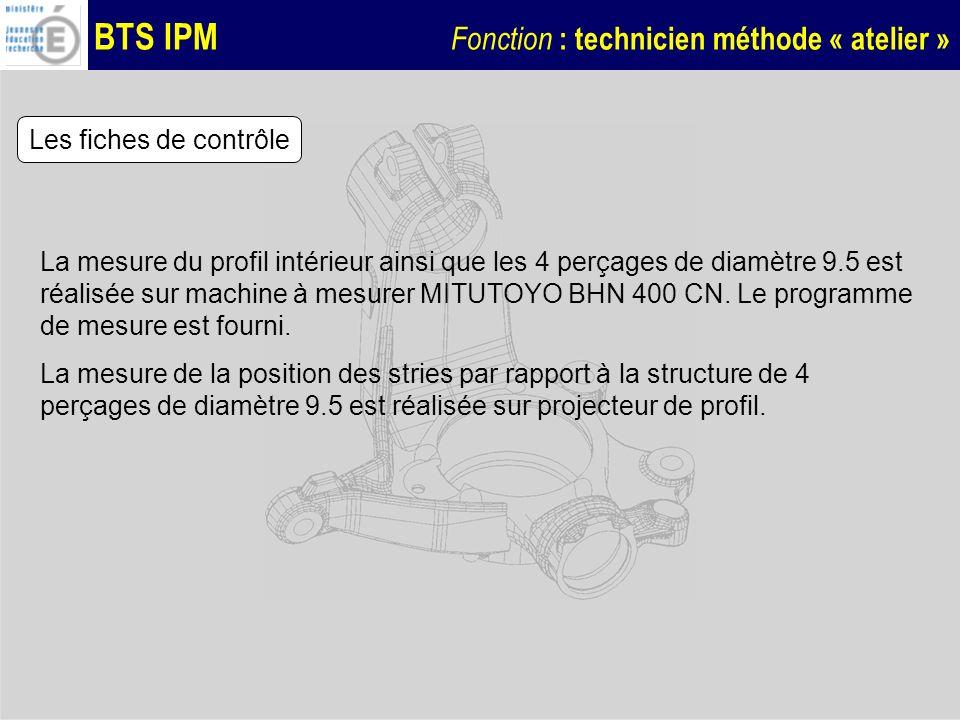 BTS IPM Fonction : technicien méthode « atelier » Les fiches de contrôle La mesure du profil intérieur ainsi que les 4 perçages de diamètre 9.5 est ré