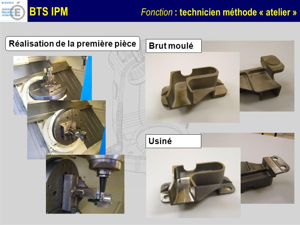 BTS IPM Fonction : technicien méthode « atelier » Réalisation de la première pièce Brut moulé Usiné