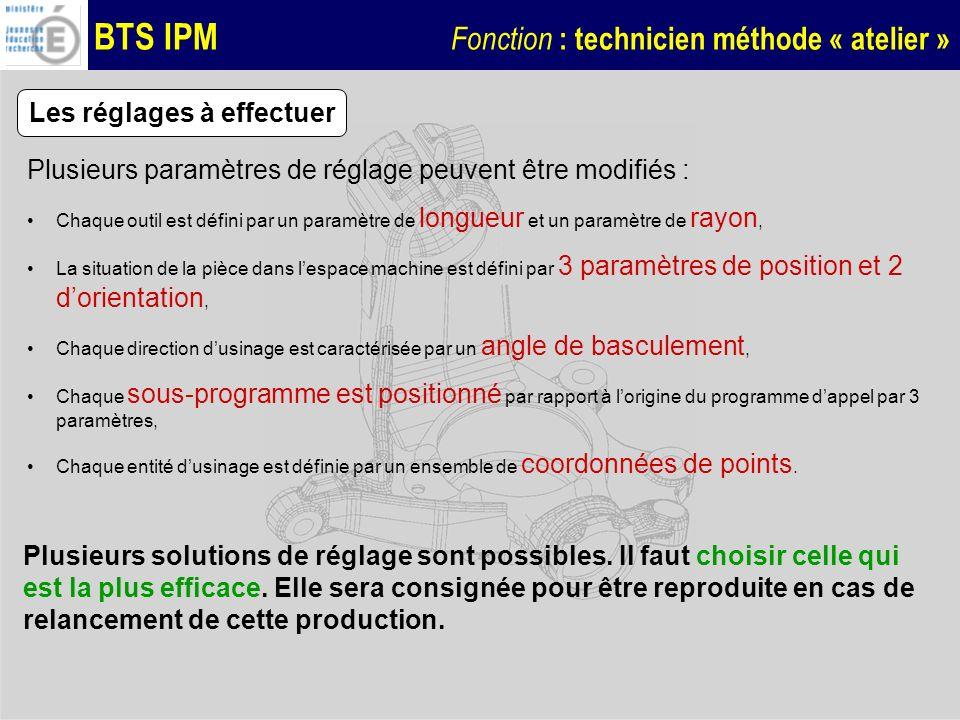 BTS IPM Fonction : technicien méthode « atelier » Les réglages à effectuer Plusieurs paramètres de réglage peuvent être modifiés : Chaque outil est dé