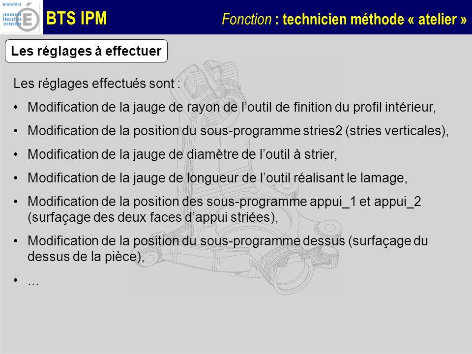 BTS IPM Fonction : technicien méthode « atelier » Les réglages à effectuer Les réglages effectués sont : Modification de la jauge de rayon de loutil d